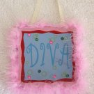 Girls Pink Fur Trim Diva Room Decor Door Sign Brand New!