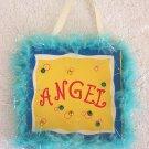 Girls Blue Fur Trim Angel Room Decor Door Sign Brand New!