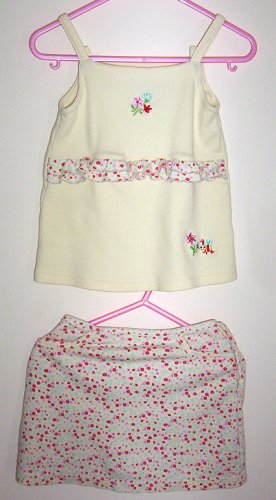 Girls 4T Pale Yellow Embroidered Floral Skort Set EUC