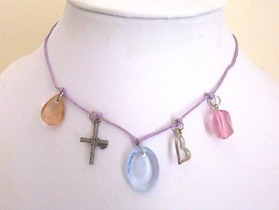 Teen Lilac Leather Charm Choker Necklace - New Item!