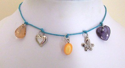 Teen Turquoise Leather Charm Choker Necklace - New Item
