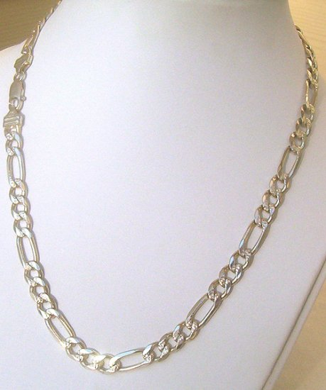 .925 Silver Large Man Figaro Chain 20 inch 42 grams