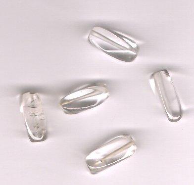Genuine Crystal Quartz Rectangle Tube Beads Lot of 5