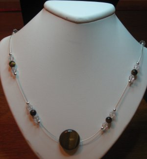 Tiger Eye Pendant, Sterling Silver, Swarovski Crystal, Handcrafted Necklace