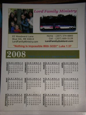 Lord Family Calendar Magnet