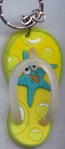 Flip Flops Beach Sandals Freaky Friends Keychain Yellow Starfish #0142