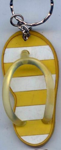 Flip Flops Beach Sandals Keychain Yellow & White Stripes #0136