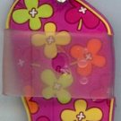 Flip Flops Beach Sandals Keychain Pink Orange Yellow & Green Flower Power #0137