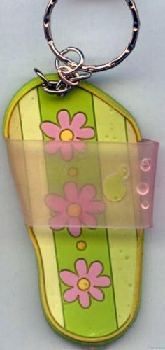 Flip Flops Beach Sandals Keychain Green Stripe & Pink Flower Power #0132