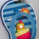 Flip Flops Beach Sandals Keychain Blue Stripes Ocean Ship #0138
