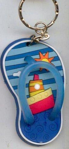 Flip Flops Beach Sandals Keychain Blue Stripes Ocean Ship #0138
