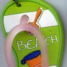 Flip Flops Beach Sandals Keychain Green Stripe Sand Toys #0104