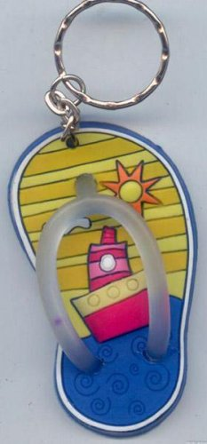 Flip Flops Beach Sandals Keychain Yellow Stripes Ocean Ship #0112