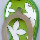 Flip Flops Beach Sandals Keychain Green & White Hawaiian Floral #0107