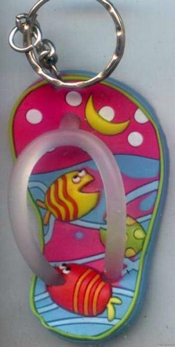 Flip Flops Beach Sandals Keychain Freaky Friends Pink Night Tropical Fish #0127