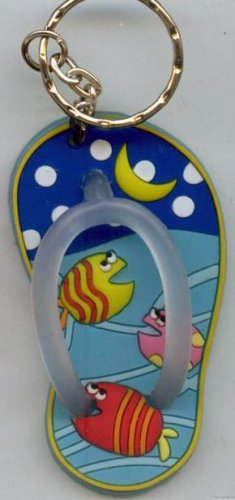 Flip Flops Beach Sandals Keychain Freaky Friends Blue Night Tropical Fish #0121