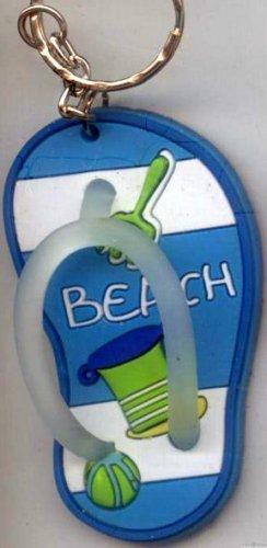 Flip Flops Beach Sandals Keychain Blue Stripe Sand Toys #0123