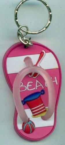 Flip Flops Beach Sandals Keychain Pink Stripe Sand Toys #0103