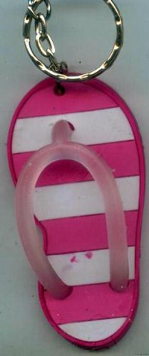 Flip Flops Beach Sandals Keychain Pink & White Stripes #0128