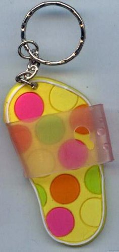 Flip Flops Beach Sandals Keychain Yellow Green Pink & Orange Polka Dots #0125