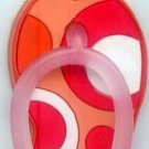 Flip Flops Beach Sandals Keychain Peach Orange Pink & White Groove Swirls #0146