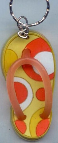 Flip Flops Beach Sandals Keychain Yellow Orange & White Groove Swirls #0117