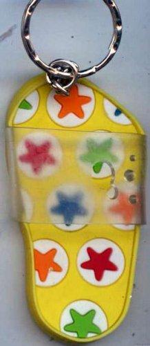 Flip Flops Beach Sandals Keychain Yellow Green Red Blue & Orange Hippie Stars #0130