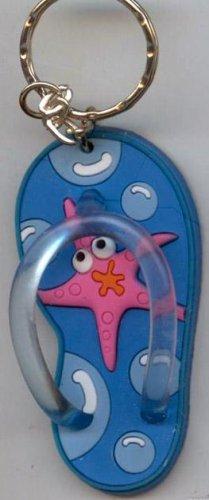 Flip Flops Beach Sandals Keychain Freaky Friends Starfish Blue #0111