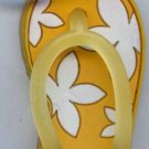 Flip Flops Beach Sandals Keychain Yellow & White Hawaiian Floral #0109