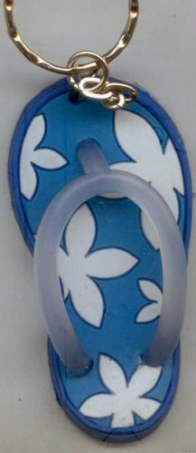 Flip Flops Beach Sandals Keychain Blue & White Hawaiian Floral #0141