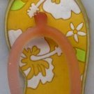 Flip Flops Beach Sandals Keychain Yellow & White Tropical Hawaiian Floral #0116