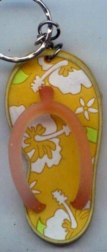 Flip Flops Beach Sandals Keychain Yellow & White Tropical Hawaiian Floral #0116