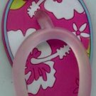 Flip Flops Beach Sandals Keychain Pink & White Tropical Hawaiian Floral #0116