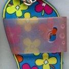 Flip Flops Beach Sandals Keychain Blue Green Yellow Orange & Purple Hippie Flowers #0105