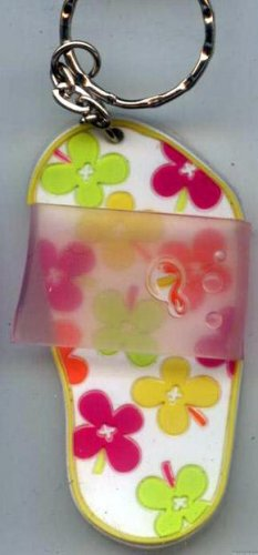 Flip Flops Beach Sandals Keychain White Green Yellow Orange & Purple Hippie Flowers #0124