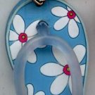 Flip Flops Beach Sandals Keychain Blue & White Tropical Flowers #0113