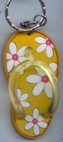 Flip Flops Beach Sandals Keychain Orange & White Tropical Flowers #0118