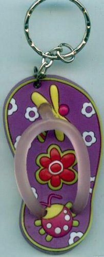 Flip Flops Beach Sandals Keychain Freaky Friends Lady Bug & Dragonfly Purple #0102