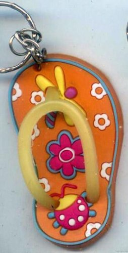 Flip Flops Beach Sandals Keychain Freaky Friends Lady Bug & Dragonfly Orange #0115