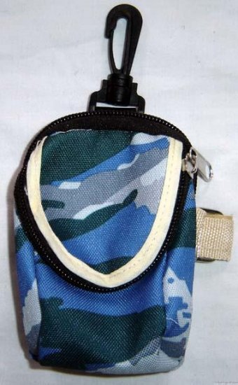 Backpack Style Cell Phone Bag Holder Coin Purse Blue Camoflauge #0208