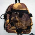 Backpack Style Cell Phone Bag Holder Coin Purse Brown & Gold Camoflauge #0215