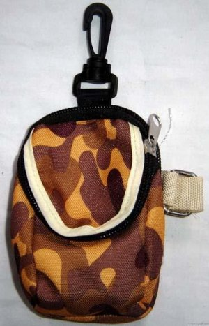 Backpack Style Cell Phone Bag Holder Coin Purse Brown & Gold Camoflauge #0205
