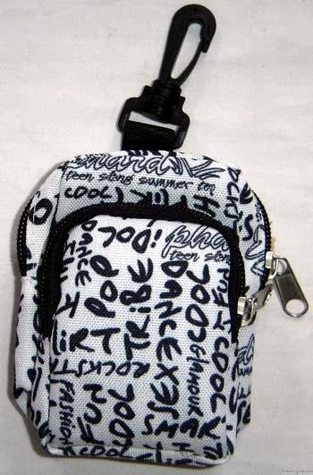 Backpack Style Cell Phone Bag Holder Coin Purse Navy Blue Grafitti Sex Kinky Glamour Trendy #0211