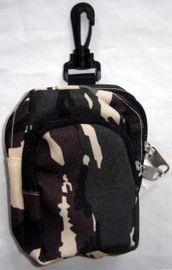 Backpack Style Cell Phone Bag Holder Coin Purse Tan Brown & Green Camoflauge #0226