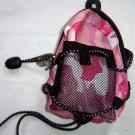 Backpack Style Cell Phone Bag Holder Coin Purse Pink Mauve & Lavendar Camoflauge #0229