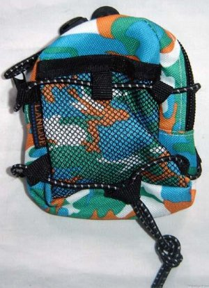 Backpack Style Cell Phone Bag Holder Coin Purse Blue Green & Orange Camoflauge #0227
