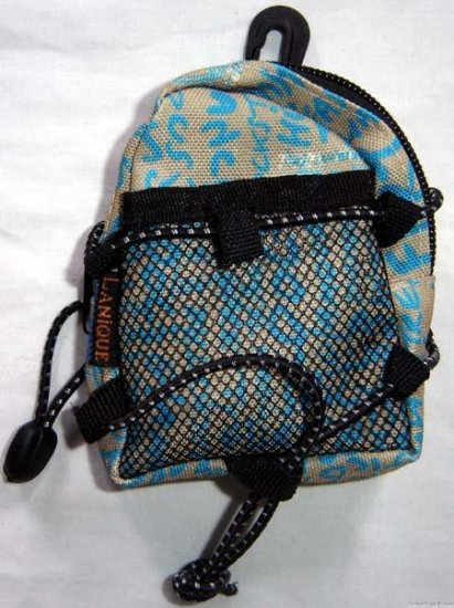 Backpack Style Cell Phone Bag Holder Coin Purse Khaki & Blue Grafitti Sex Kinky Glamour Trendy #0222
