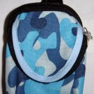 Backpack Style Cell Phone Bag Holder Coin Purse Blues & Gray Camoflauge #0175