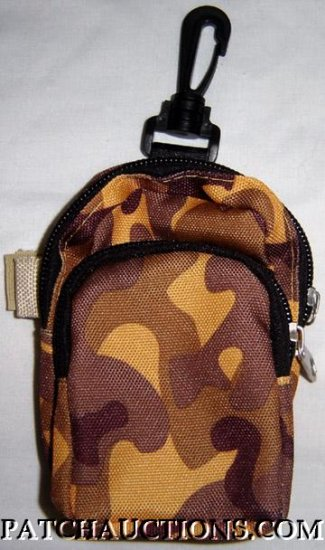 Backpack Style Cell Phone Bag Holder Coin Purse Gold & Brown Camoflauge #0166