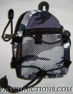 Backpack Style Cell Phone Bag Holder Coin Purse Purple & Gray  Camoflauge #0163